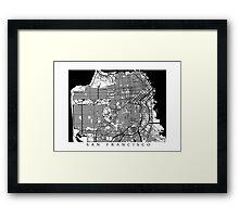 San Francisco Black and White Map Art - California, USA Framed Print