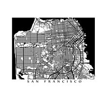 San Francisco Black and White Map Art - California, USA Photographic Print