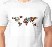 World map space nebula - white background Unisex T-Shirt