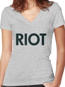 Riot (black) Women's Fitted V-Neck T-Shirt
