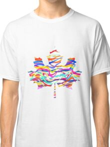 Abstract Maple Leaf Silhouette with Pattern Classic T-Shirt
