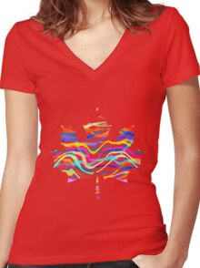 Abstract Maple Leaf Silhouette with Pattern Women's Fitted V-Neck T-Shirt