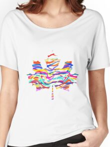Abstract Maple Leaf Silhouette with Pattern Women's Relaxed Fit T-Shirt