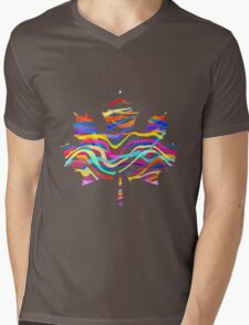 Abstract Maple Leaf Silhouette with Pattern Mens V-Neck T-Shirt