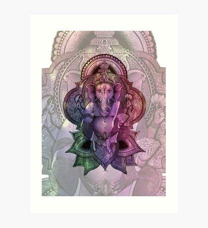 Ganesha Color2 - white Art Print