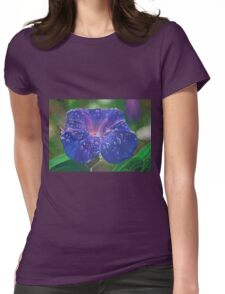 Deep Purple Morning Glory With Morning Dew Womens Fitted T-Shirt