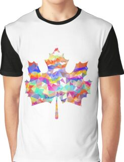 Abstract Maple Leaf Silhouette with Pattern Graphic T-Shirt