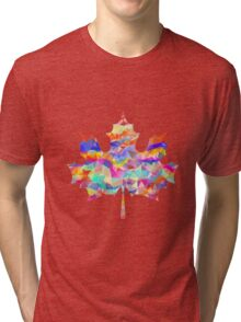 Abstract Maple Leaf Silhouette with Pattern Tri-blend T-Shirt