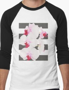 White Orchid with Striped Background Men's Baseball ¾ T-Shirt