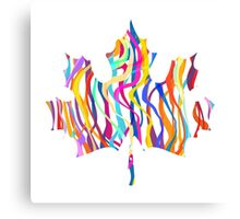 Abstract Maple Leaf Silhouette with Pattern Canvas Print