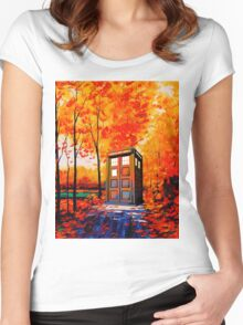tardis in the woods Women's Fitted Scoop T-Shirt