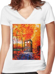 tardis in the woods Women's Fitted V-Neck T-Shirt