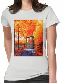 tardis in the woods Womens Fitted T-Shirt