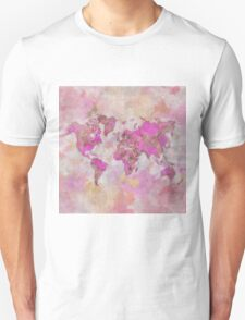 World Map Violet Unisex T-Shirt