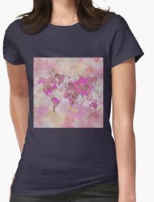 World Map Violet Womens Fitted T-Shirt
