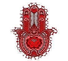 Red Lotus Hamsa Photographic Print