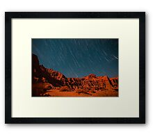 Star Trail Shower Over Red Rock Canyon Framed Print