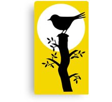 The Swallow on the Tree (Minimalist Art) Silhouette Canvas Print