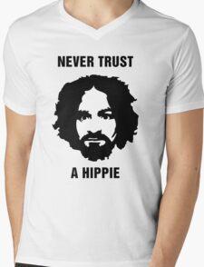 Charlie Manson Never Trust A Hippie Mens V-Neck T-Shirt