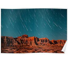 Star Trails Comets Streak Over Red Rock Canyon Poster