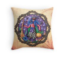 Trick or Treat - Halloween Witch Art Throw Pillow