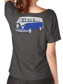Volkswagen Van, VW Bus, Navy Blue, Camper, Split screen, 1966 Volkswagen, Kombi (North America) Women's Relaxed Fit T-Shirt
