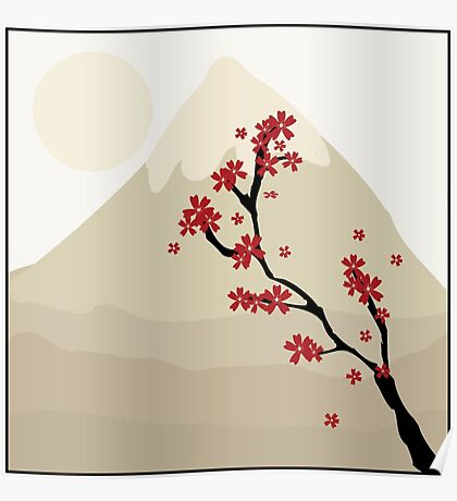 Maple Tree In The Shadow Of A Mountain, Japan (Artwork) Poster