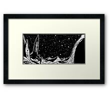 Retro Sci-Fi Art, Rocket on the Moon Framed Print
