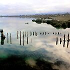 Port Augusta - Old Barge with cloud reflections by Georgie Sharp