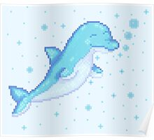 Pixel Dolphin Poster