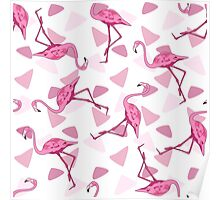Seamless background illustration of a Flamingo. Print of pink flamingos and triangles. Poster