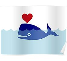 Happy Love Whale, Clipart Poster