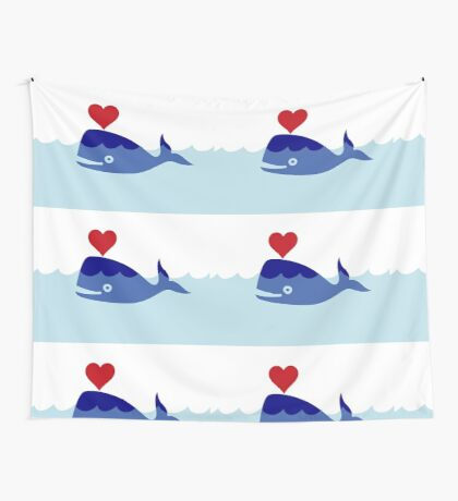 Happy Love Whale, Clipart Wall Tapestry
