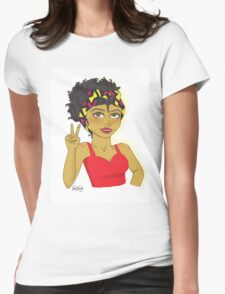 Peace And Love Dark Skinned Beauty Womens Fitted T-Shirt