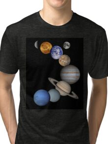The Solar System, Aligned Planets (Photographs) Tri-blend T-Shirt