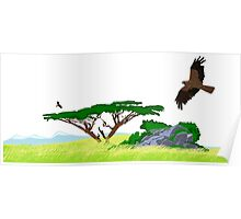African Plain, Eagles Flying (Art) Poster