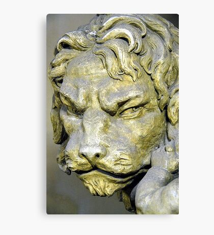 Lion head sculpture, Barrage Vauban, Strabsourg, France Canvas Print