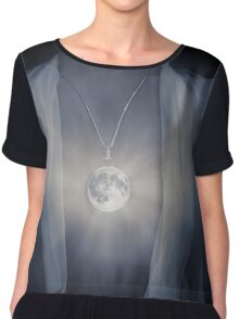 Woman with glowing Full Moon pendant on her chest art photo print Chiffon Top