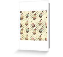 Vintage,retro,cup cake,pattern,shabby chic,food hipster,hipster,food,cute Greeting Card