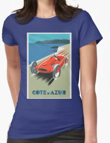 Vintage Travel Poster, French Riviera Race Car Womens Fitted T-Shirt