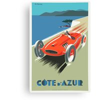 Vintage Travel Poster, French Riviera Race Car Canvas Print