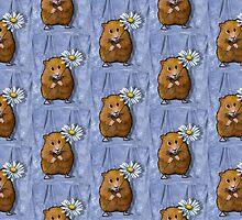 Hamster Holding Daisy Flower, Original Art by Joyce Geleynse