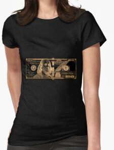 One Hundred US Dollar Bill - $100 USD in Gold on Black Womens Fitted T-Shirt
