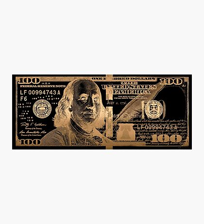 One Hundred US Dollar Bill - $100 USD in Gold on Black Photographic Print