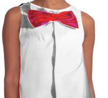 Conceptual costume. Red bow-tie and braces. Jazzbow on white shirt background. Elegance and chic. Contrast Tank