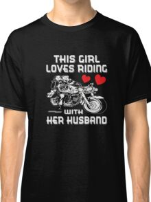 Motorcycle Apparel Riding With Husband T-shirt for Women Classic T-Shirt
