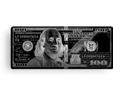 One Hundred US Dollar Bill - $100 USD in Silver on Black Canvas Print