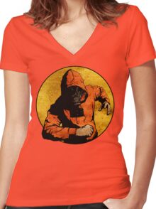 He Dodged Here And There.... Women's Fitted V-Neck T-Shirt