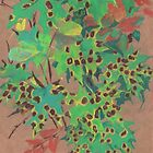 """""""Dotty leaves"""", pastel drawing, nature art, fall, autumn, maple leaf by clipsocallipso"""
