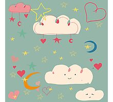 Cute clouds blue background Photographic Print